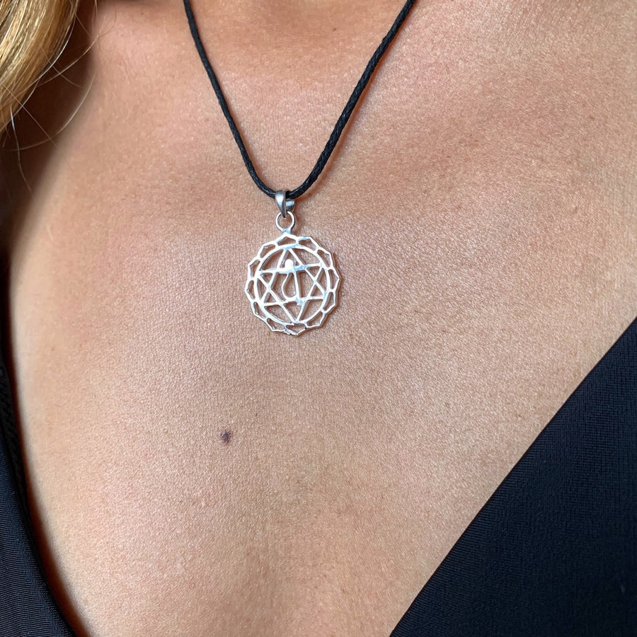 Heart Chakra Symbol Yoga Necklace Silver Pendant