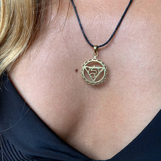 Throat Chakra Symbol Yoga Necklace Brass Pendant