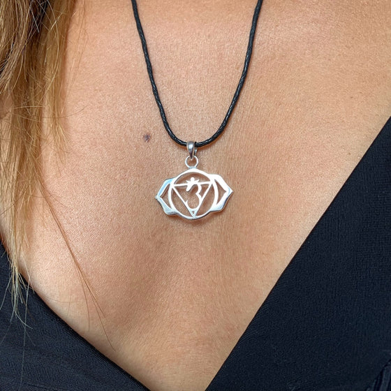 Third Eye Chakra Symbol Yoga Necklace Silver Pendant
