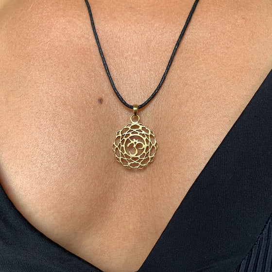 Crown Chakra Symbol Yoga Necklace Brass Pendant