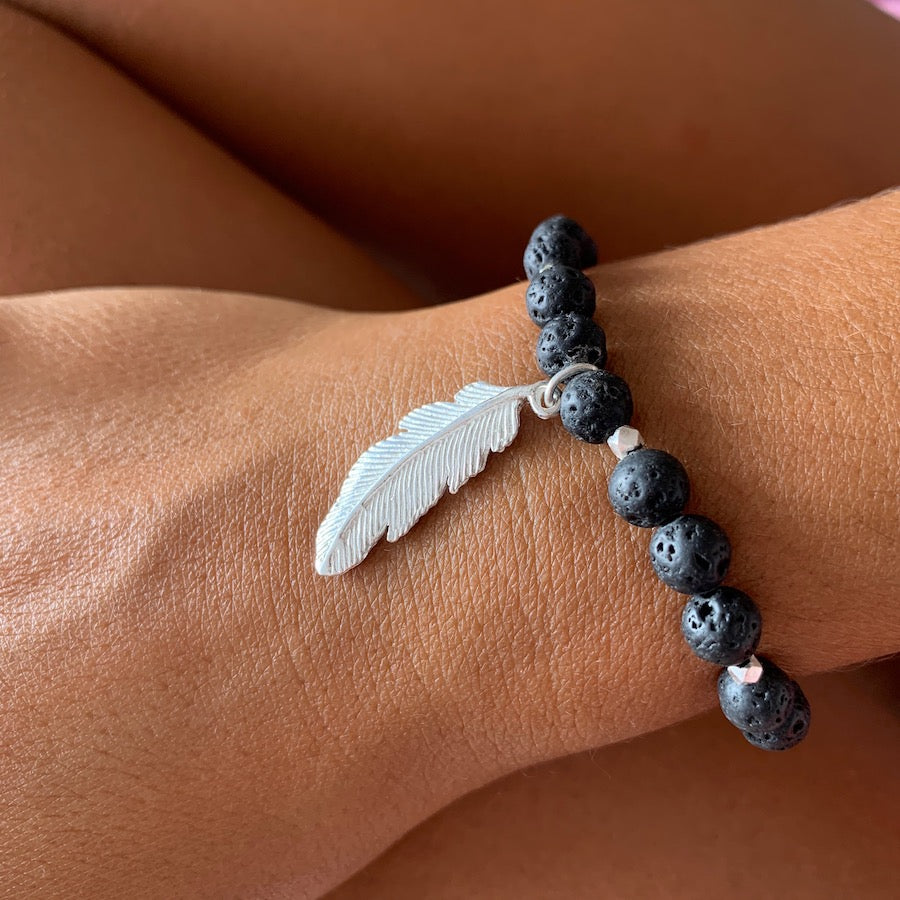 Lava Mala Beads Yoga Bracelet Silver feather charm