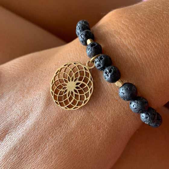Lava Mala Beads Yoga Bracelet Brass Sunflower sacred geometry charm