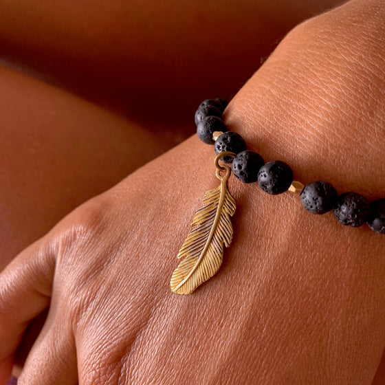 Lava Mala Beads Yoga Bracelet brass feather charm