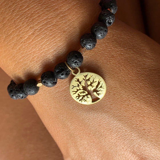 Lava Mala Beads Yoga Bracelet Brass Tree Of Life charm
