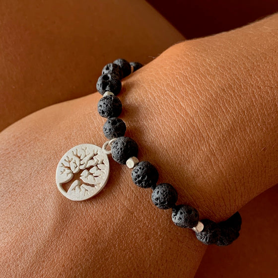 Lava Mala Beads Yoga Bracelet Silver Tree Of Life charm
