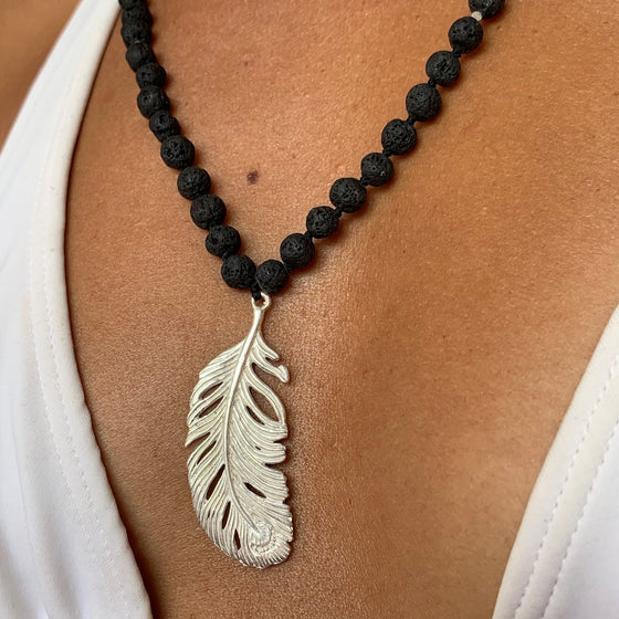 Lava Mala Prayer Beads Yoga Necklace silver Feather pendant