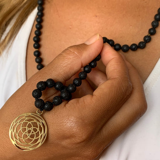 Lava Mala Prayer Beads Yoga Necklace Rose Of Venus sacred geometry pendant