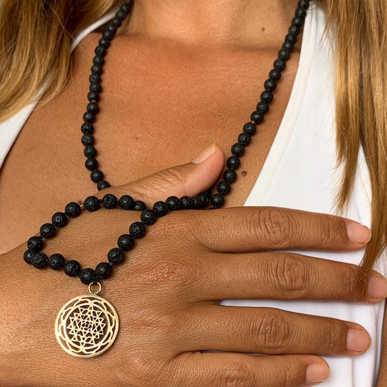 Lava Mala Prayer Beads yoga necklace brass Sri Yantra sacred geometry pendant