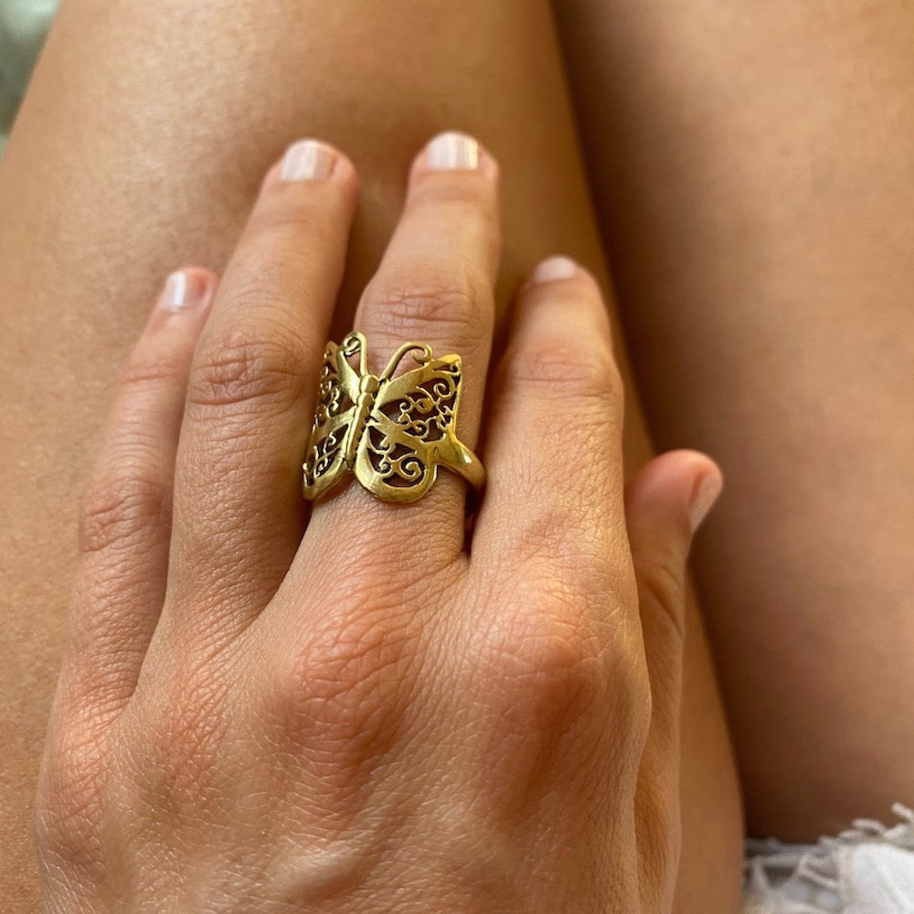 brass Butterfly Ring