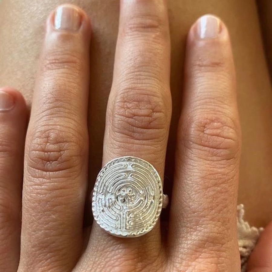 Silver Labyrinth of Chartres Ring