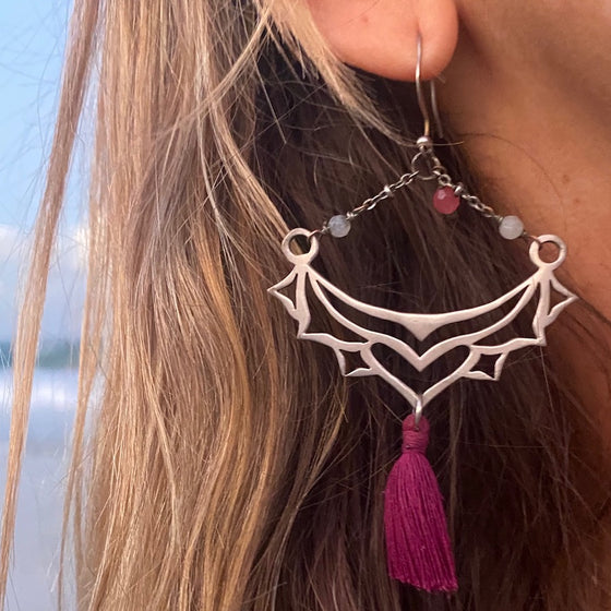 Silver Boho tassel Earrings with Rhodochrosite