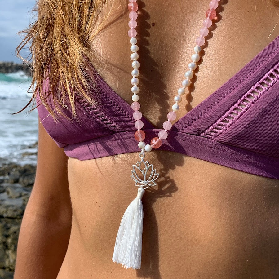 Mala beads yoga necklace with silver lotus pendant and rose quartz, pearls