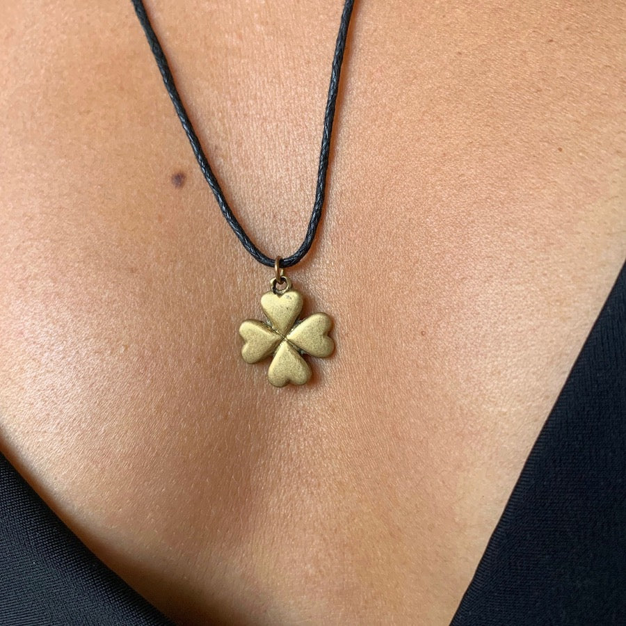 Lucky Four Leaf Clover brass Pendant necklace