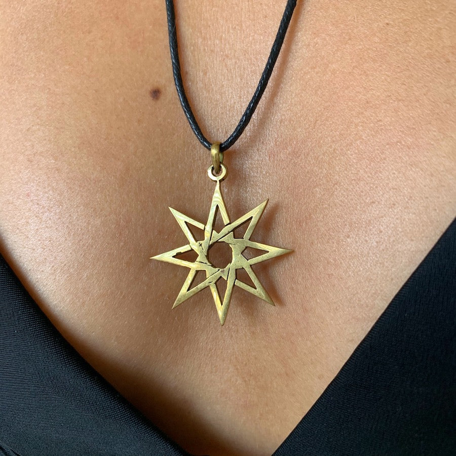 Eight Point Star Of Ishtar brass pendant necklace