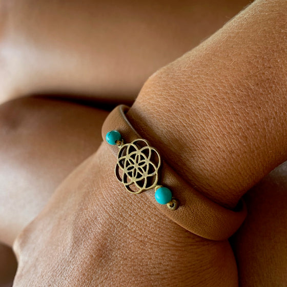 Seed Of Life sacred geometry bracelet on leather, turquoise