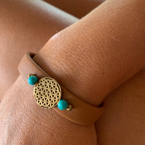 Flower Of Life sacred geometry bracelet on leather, turquoise