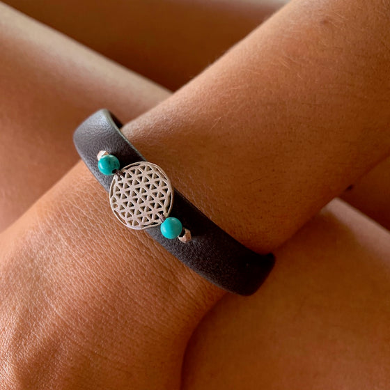 Silver Flower Of Life sacred geometry bracelet on leather, turquoise