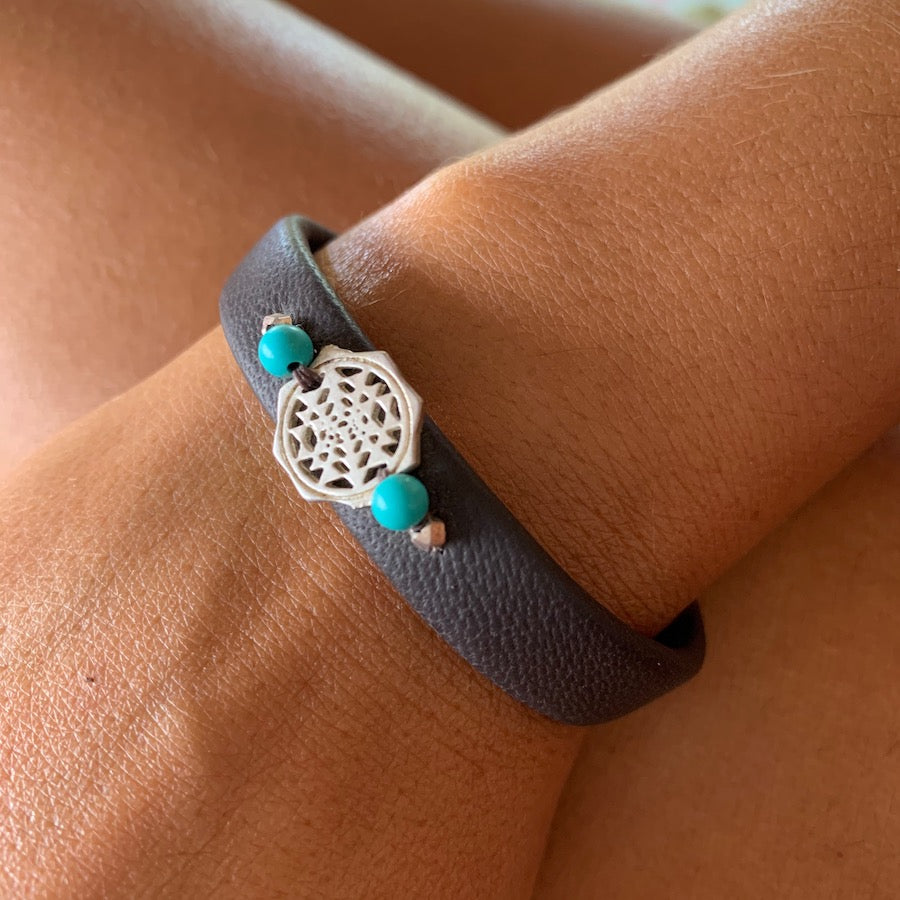 Silver Sri Yantra sacred geometry bracelet on leather, turquoise