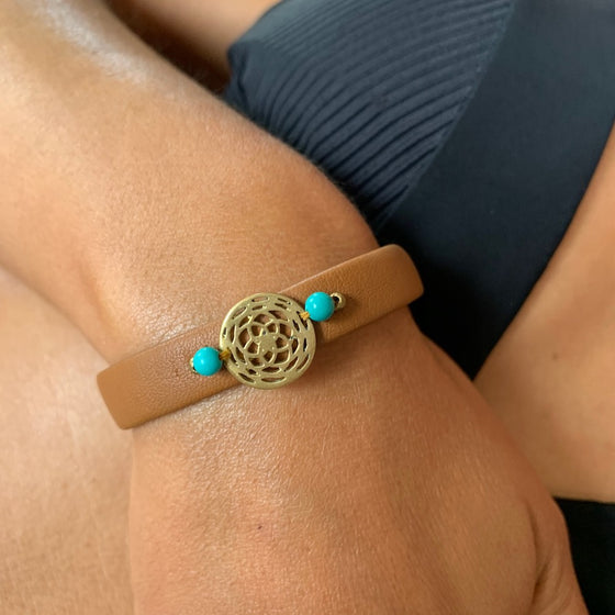 Rose Of Venus sacred geometry bracelet on leather, turquoise