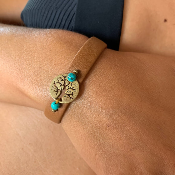 Tree Of Life bracelet on leather, turquoise