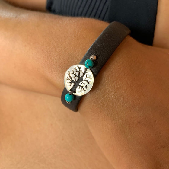 Tree Of Life bracelet silver on leather with turquoise