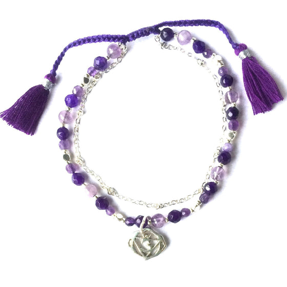 handmade Third Eye Chakra Symbol Yoga Bracelet with healing Gemstones Chakra Jewellery