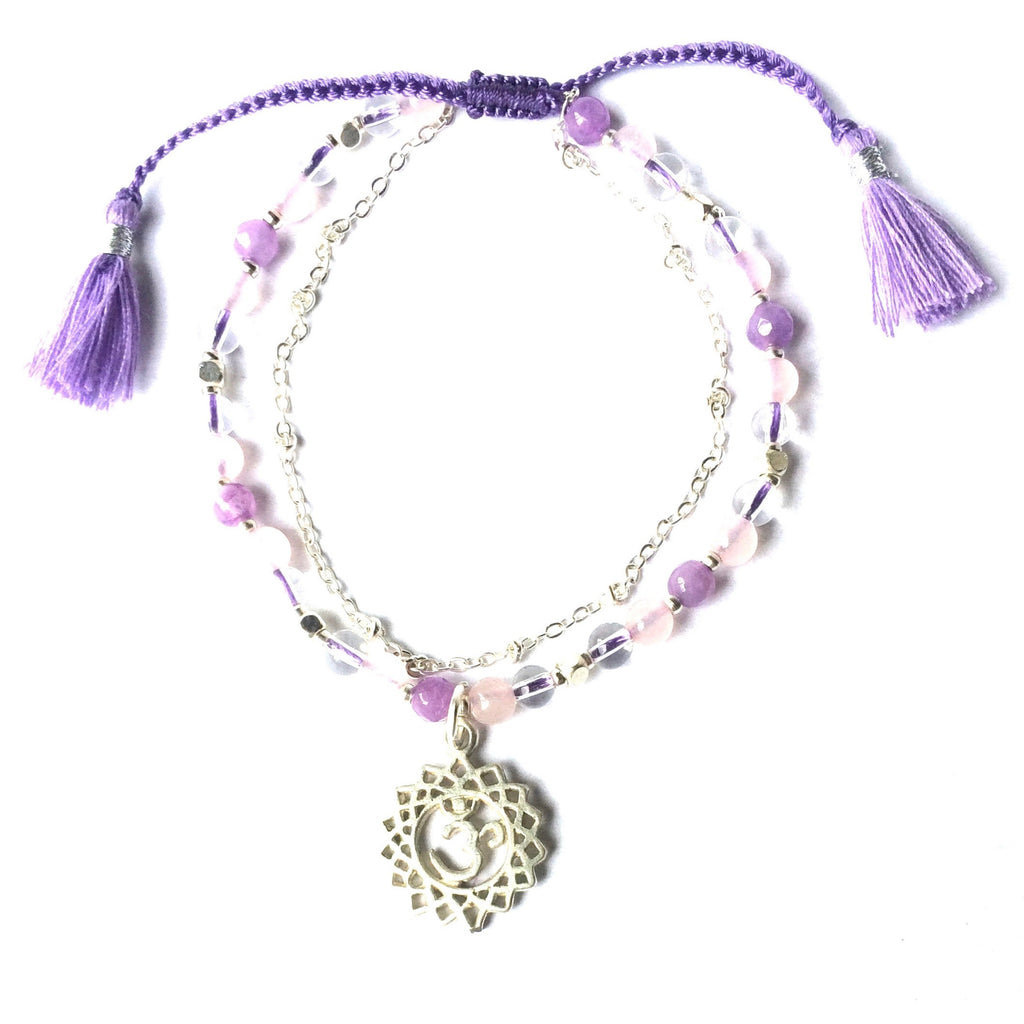 Crown Chakra Symbol Gemstone Yoga Bracelet Silver Chain