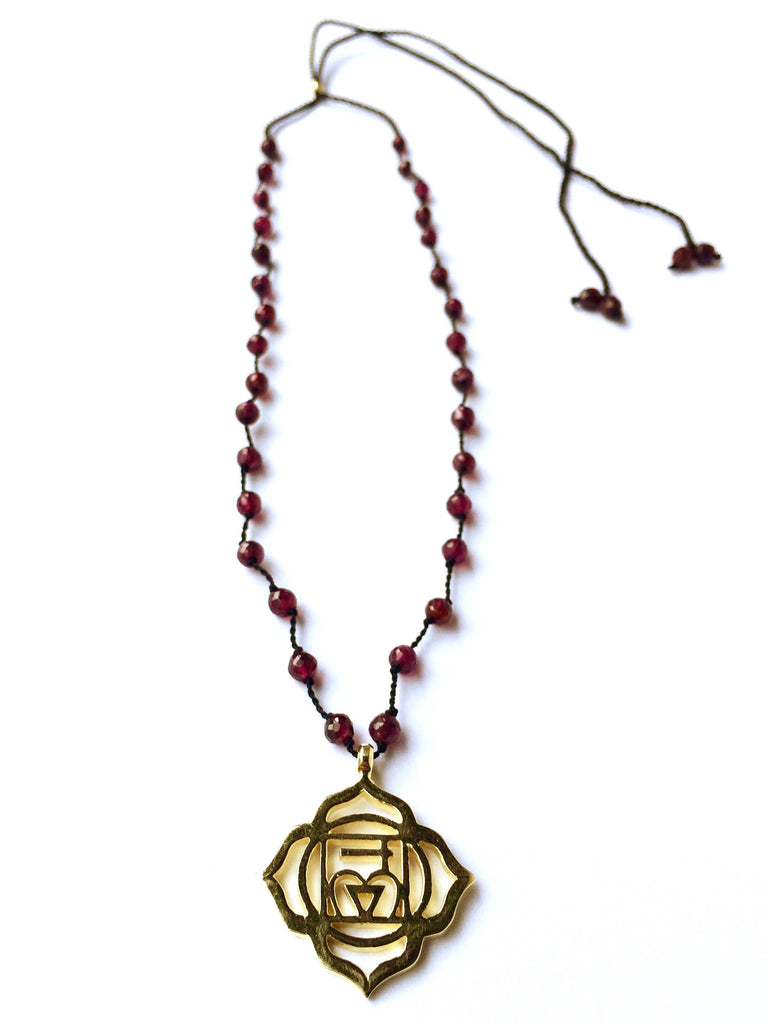 Root Chakra Symbol Brass Yoga Necklace Garnet Healing Gemstones Chakra Jewellery