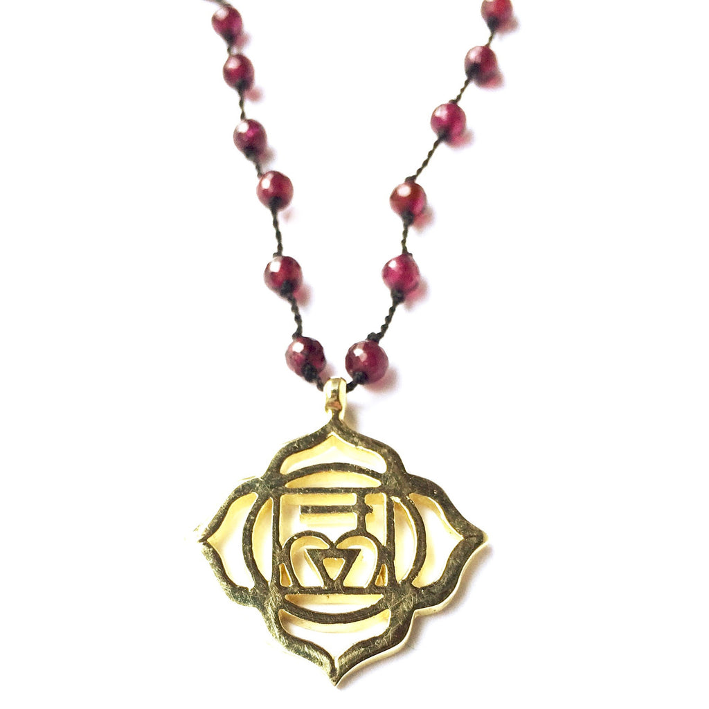 Chakra Jewellery Root Chakra Symbol Brass Yoga Necklace Garnet Healing Gemstones