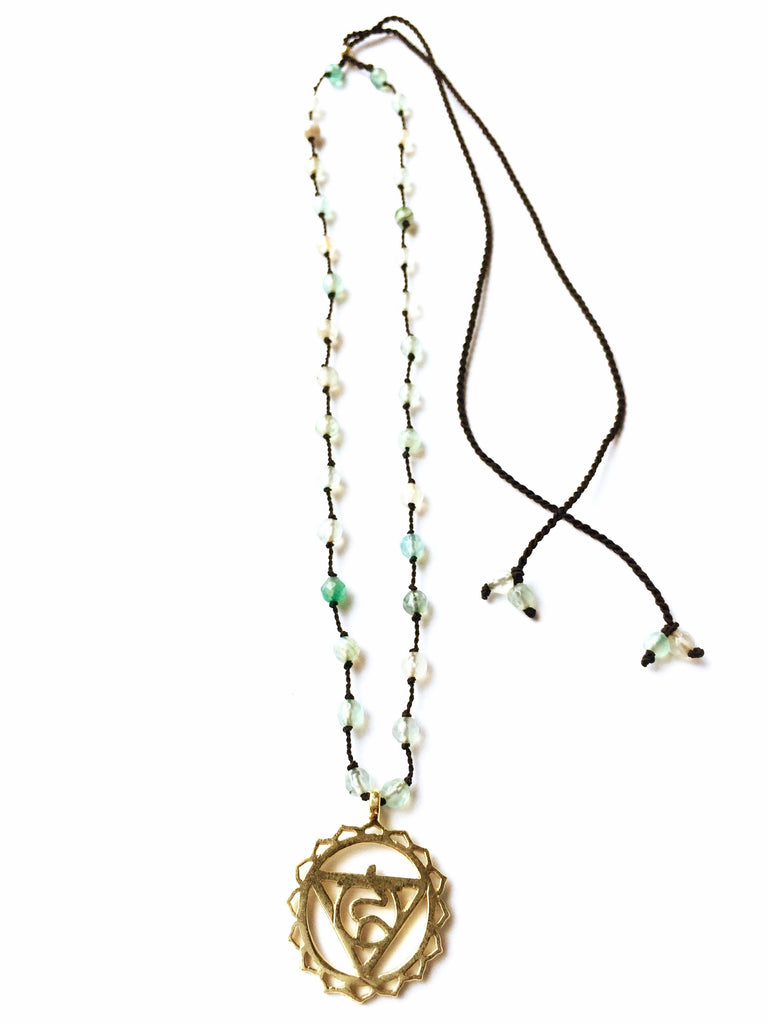 Throat Chakra Symbol Brass Yoga Necklace healing gemstones Aquamarine Chakra Jewellery