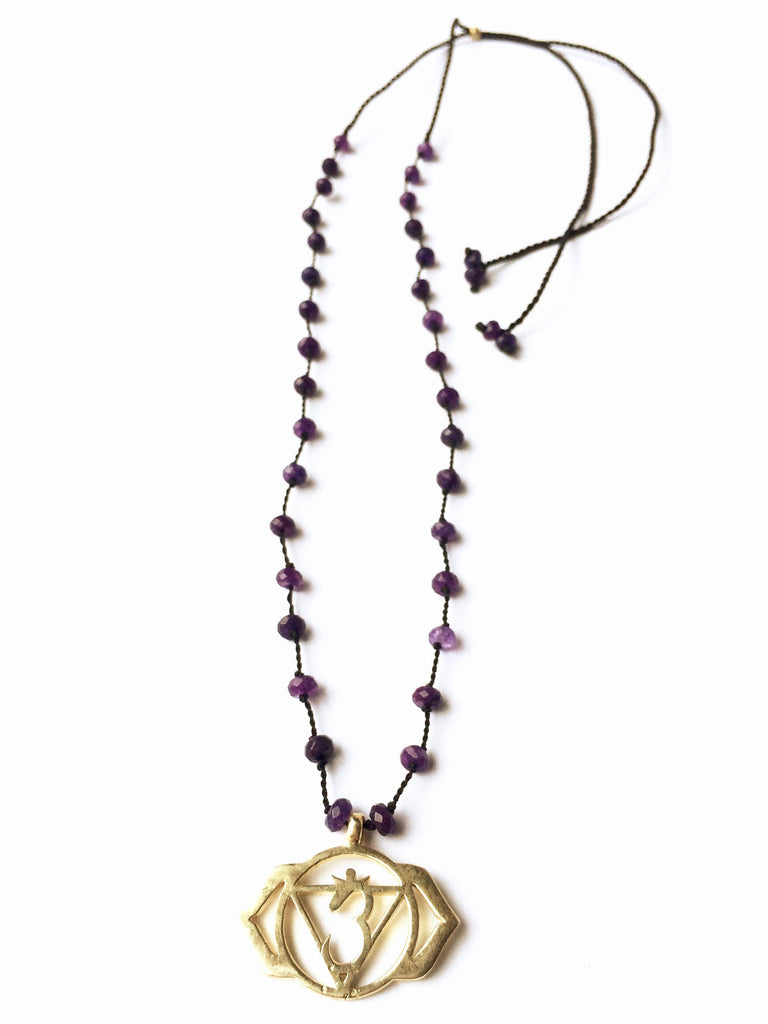 Third Eye Chakra Symbol Brass Yoga Necklace Amethyst Healing Gemstones Chakra Jewellery