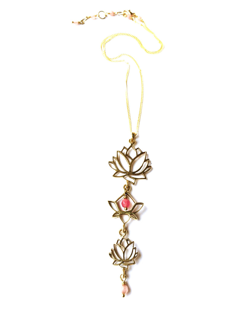 Triple Lotus Linked Brass Yoga Necklace with heart healing gemstones