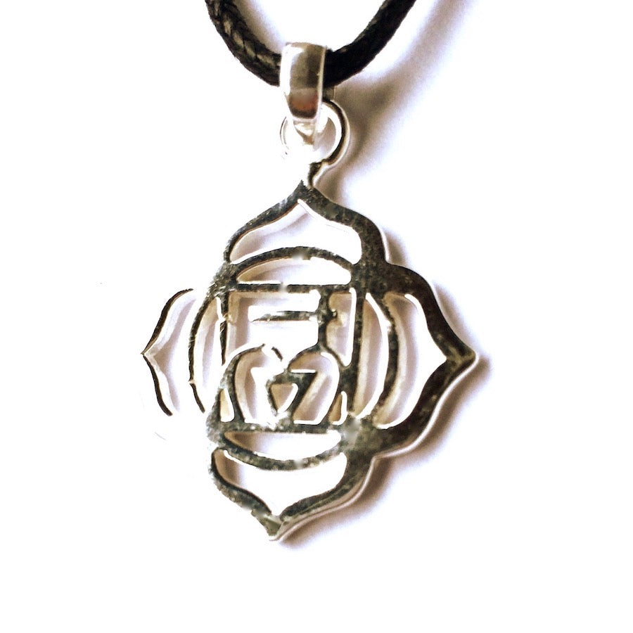 Root Chakra Symbol Yoga Necklace Silver Pendant