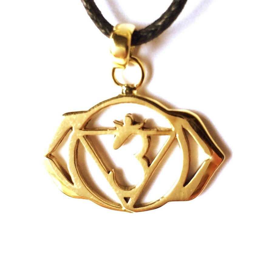 Third Eye Chakra Symbol Yoga Necklace Brass Pendant