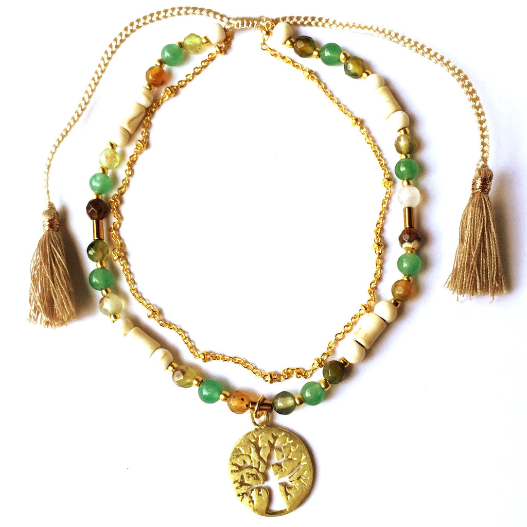 Boho-Chic Gemstone Anklet is handmade with loving intention from Green Agate, Jade, Tourmaline, Peridot & brass beads. This beautiful Anklet features a brass Tree Of Life charm and a slim brass chain to add a touch of feminine elegance.