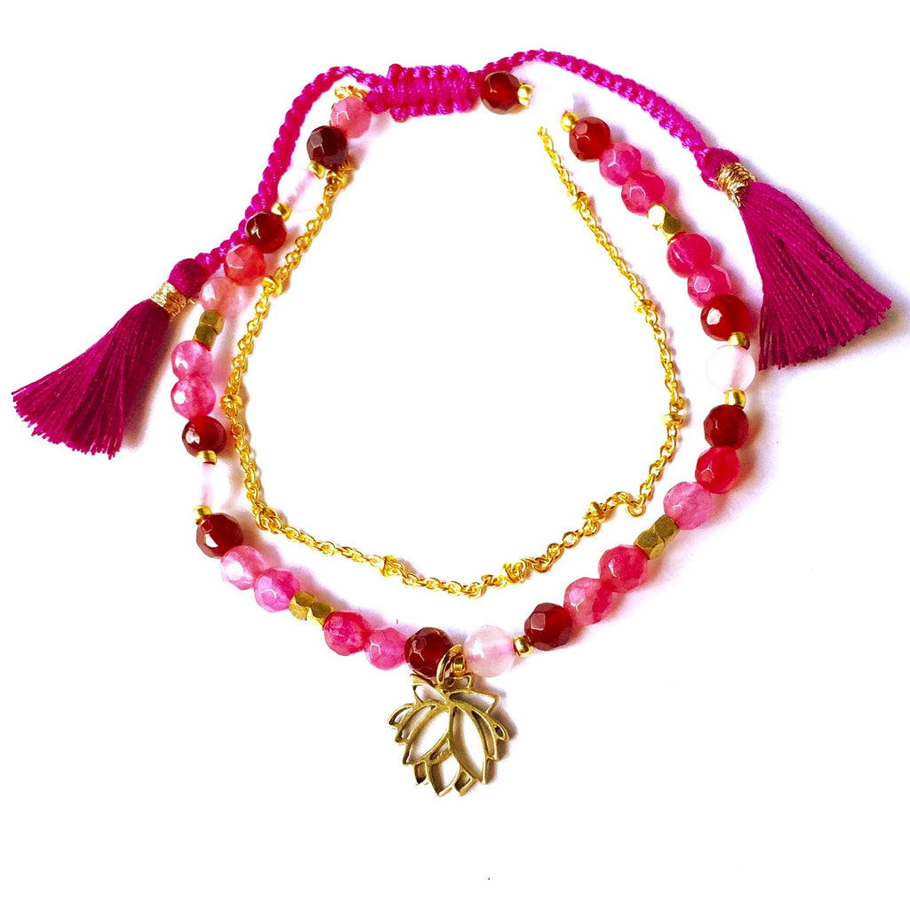 This gorgeous Pink Lotus charm bracelet is made with loving intention from healing gemstones of Rhodochrosite, Rose Quartz & Ruby Quartz. Featuring a hand crafted brass lotus charm and a slim brass chain to add a touch of feminine elegance