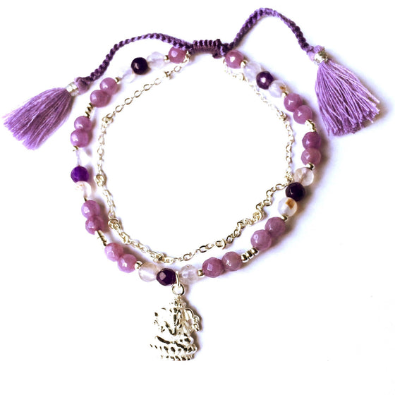 This gorgeous Ganesha charm bracelet is made with loving intention from healing gemstones of rhodochrosite, rose quartz, amethyst & clear quartz. Featuring a hand crafted sterling silver Ganesha charm and a slim silver chain to add a touch of feminine elegance