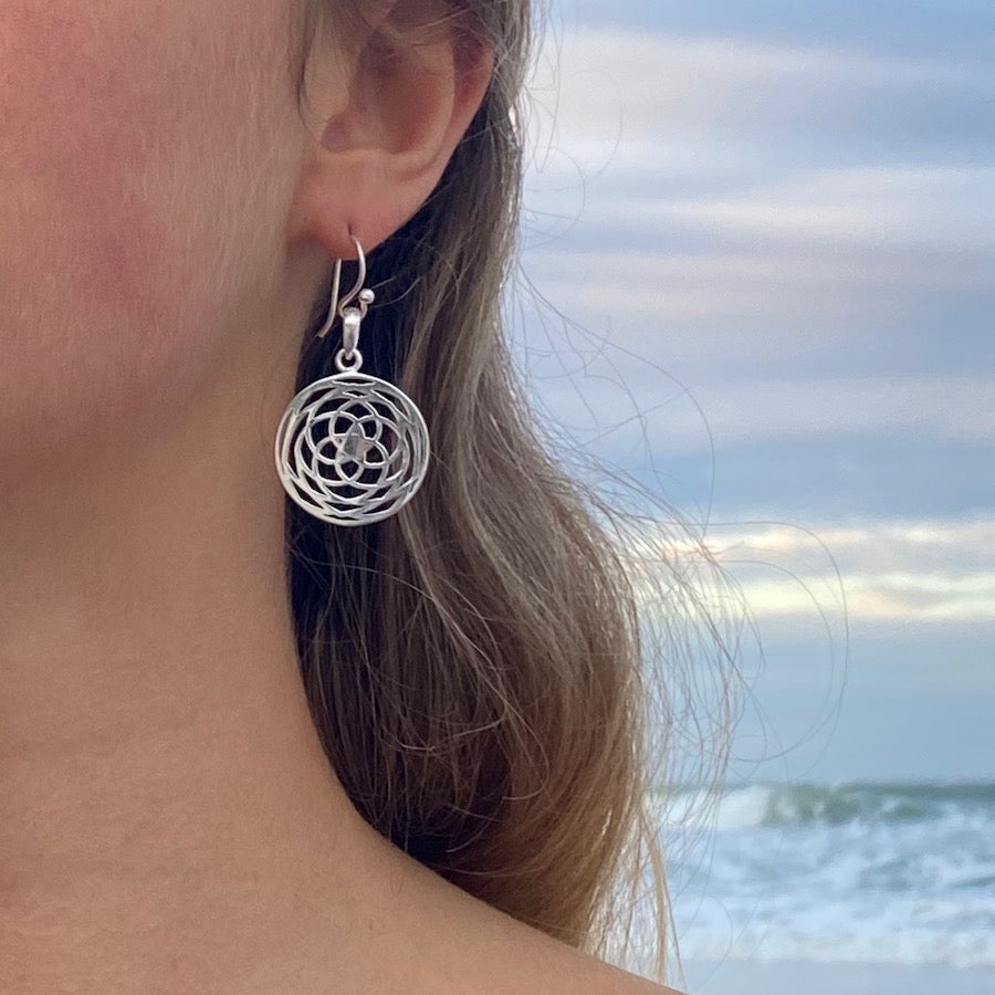 Rose Of Venus Sacred Geometry Sm Silver Earrings