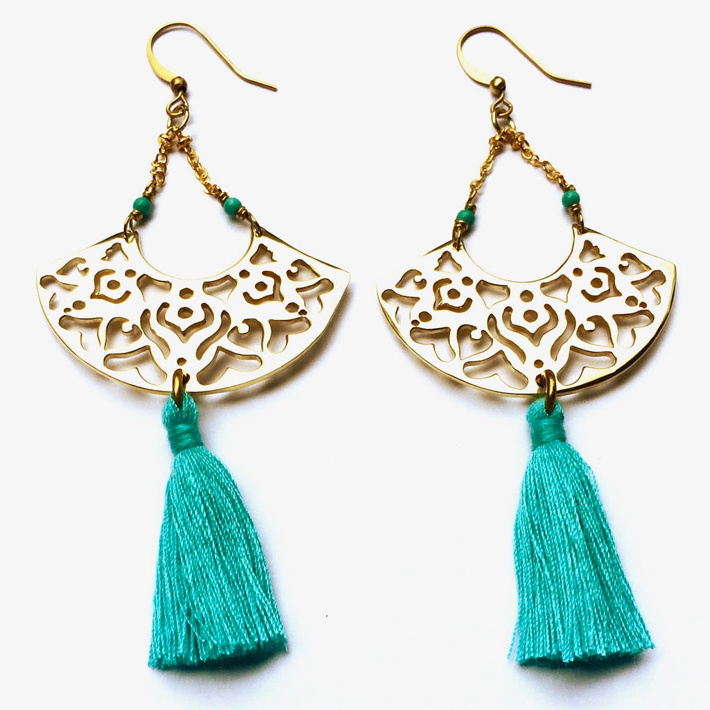 Brass Boho Tassel Earrings with Turquoise