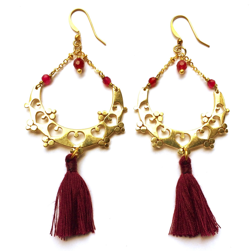 Gorgeous Boho Earrings, handmade in brass with a gypsy inspired design, Ruby Quartz and ruby cotton tassels.