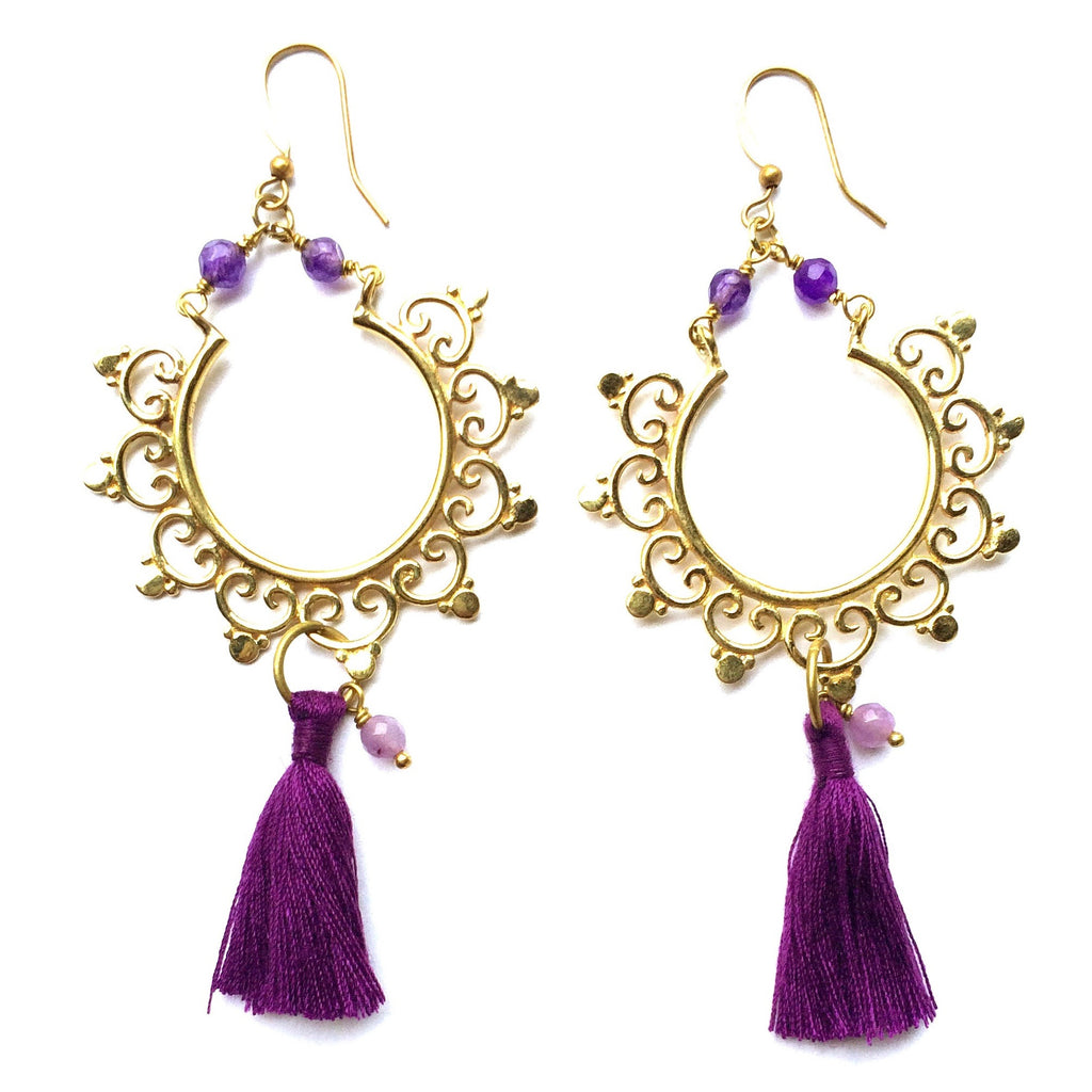 Gorgeous Boho Earrings, handmade in brass with a gypsy inspired design, Amethyst gemstones and purple coloured cotton tassels.