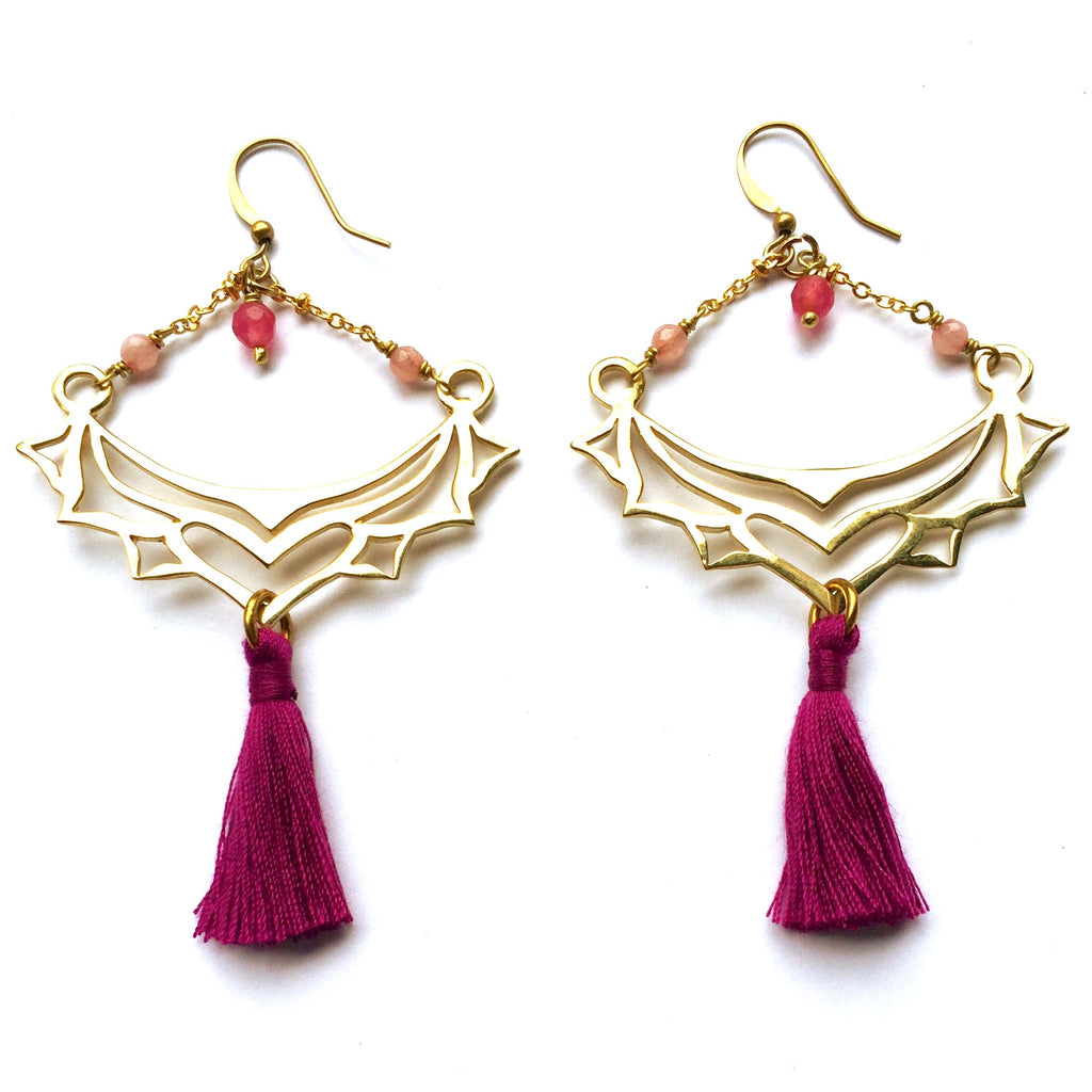 Gorgeous Boho Earrings, handmade & sterling silver plated with a gypsy inspired tribal heart design, Rhodochrosite gemstones and magenta cotton tassels.