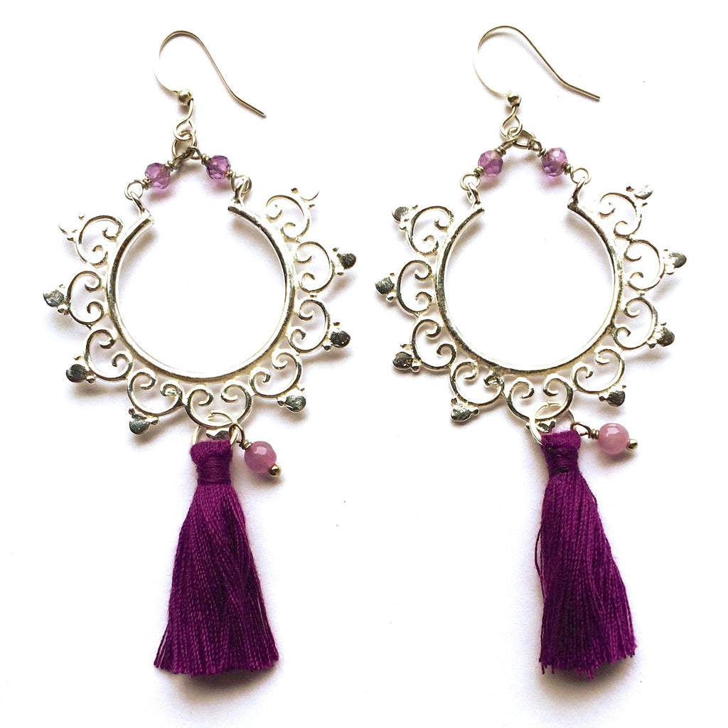 Gorgeous Boho Earrings handmade & sterling silver plated with a gypsy inspired design, amethyst gemstones and purple coloured cotton tassels.