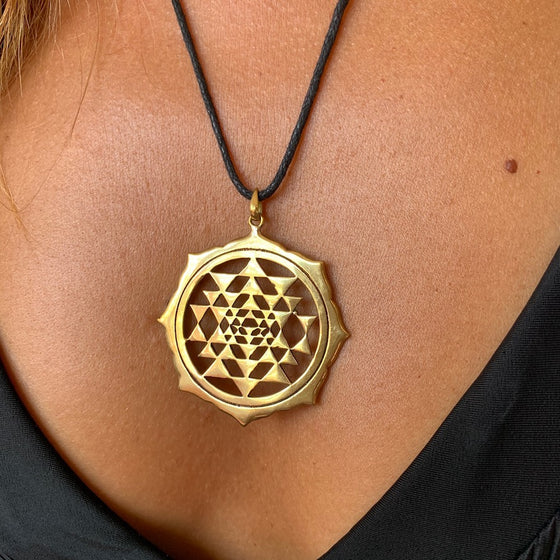 Sri Yantra Mandala Lotus brass pendant Sacred Geometry Necklace