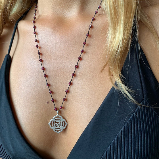 Root Chakra Symbol Silver Necklace Garnet Healing Gemstones