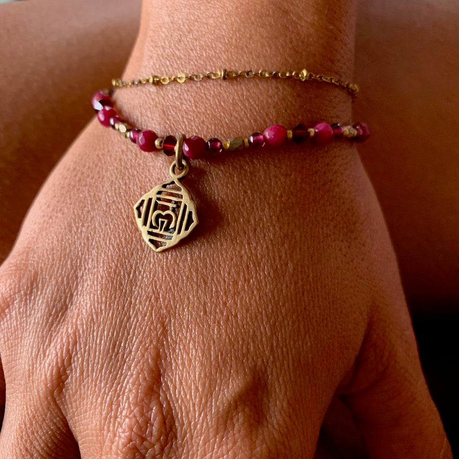 Root Chakra Symbol Gemstone Yoga Bracelet Brass Chain