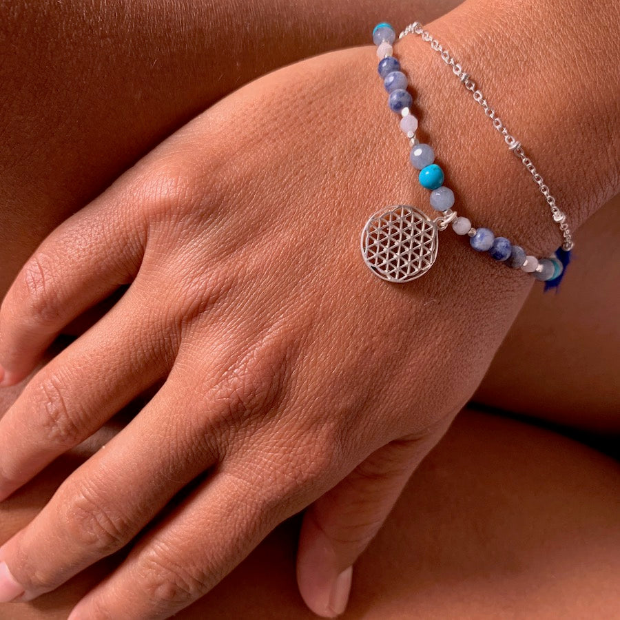 Flower Of Life charm bracelet handmade from healing gemstones, sterling silver Flower Of Life sacred geometry charm