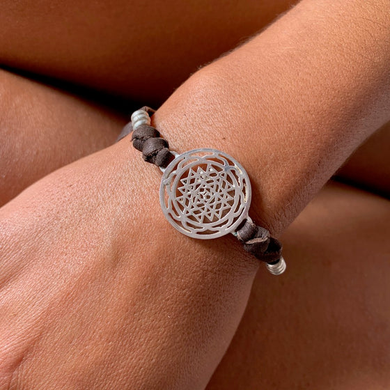 silver Sri Yantra sacred geometry charm bracelet on suede leather