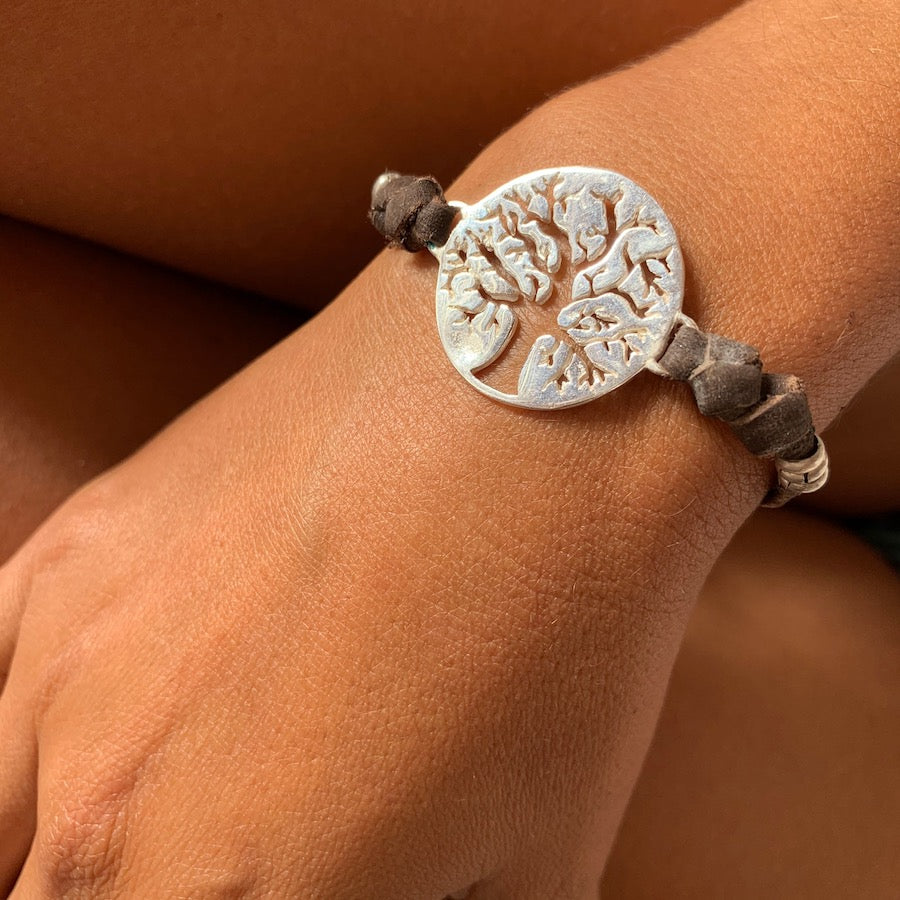 silver tree of life charm bracelet on suede leather