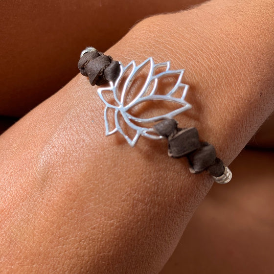 silver Lotus charm bracelet on suede leather